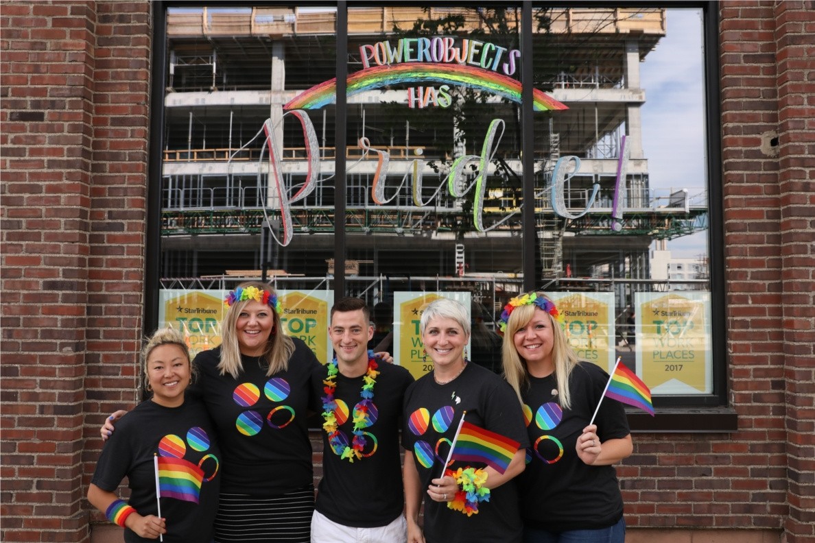 PowerObjects extended its LGBTQIA+ Pride month celebrations beyond employees this year with a community event outside their Minneapolis headquarters and online participation from the global team.