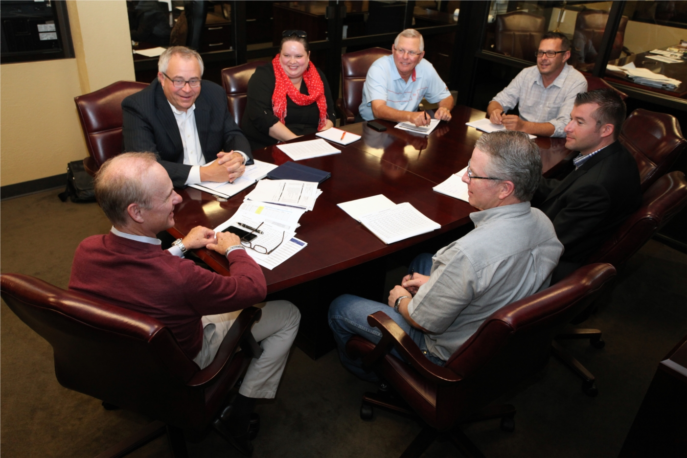 Bill Mathis, Calvin Worth and others strategize on what is best for our customers.