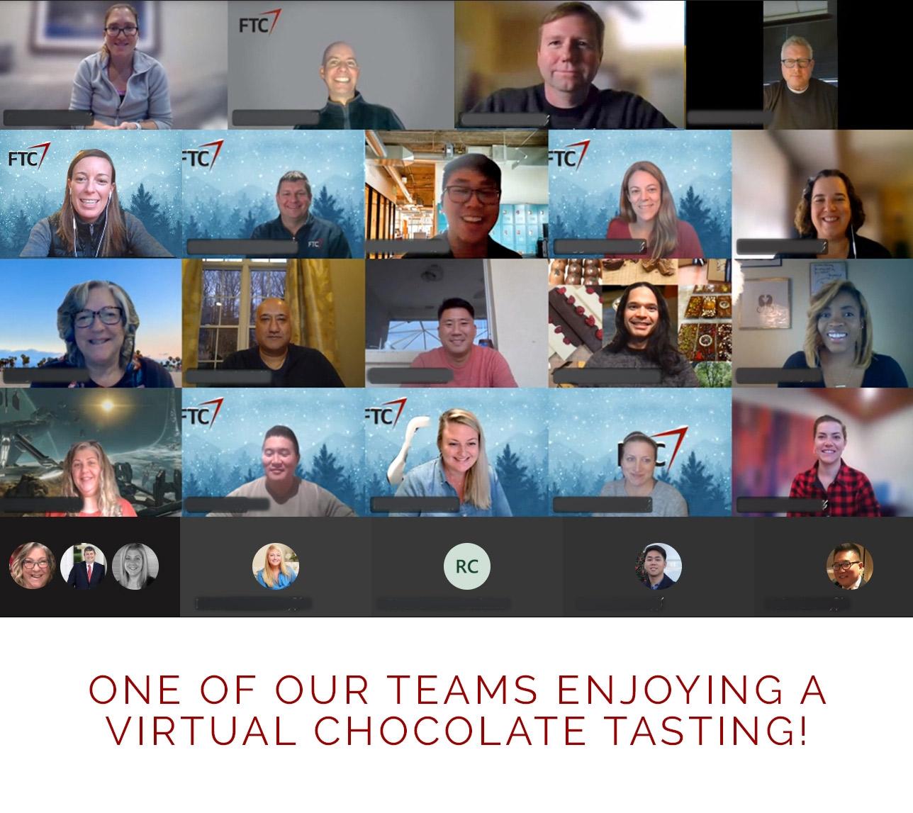 Our team enjoying a virtual chocolate tasting!