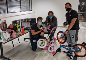 CCP puts bikes together for the Big Bus Toy Express