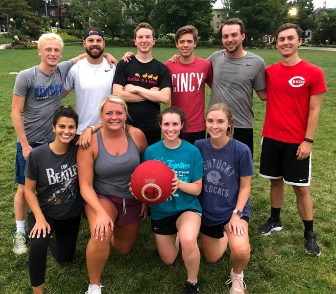 Our kickball squad taking home the championship!