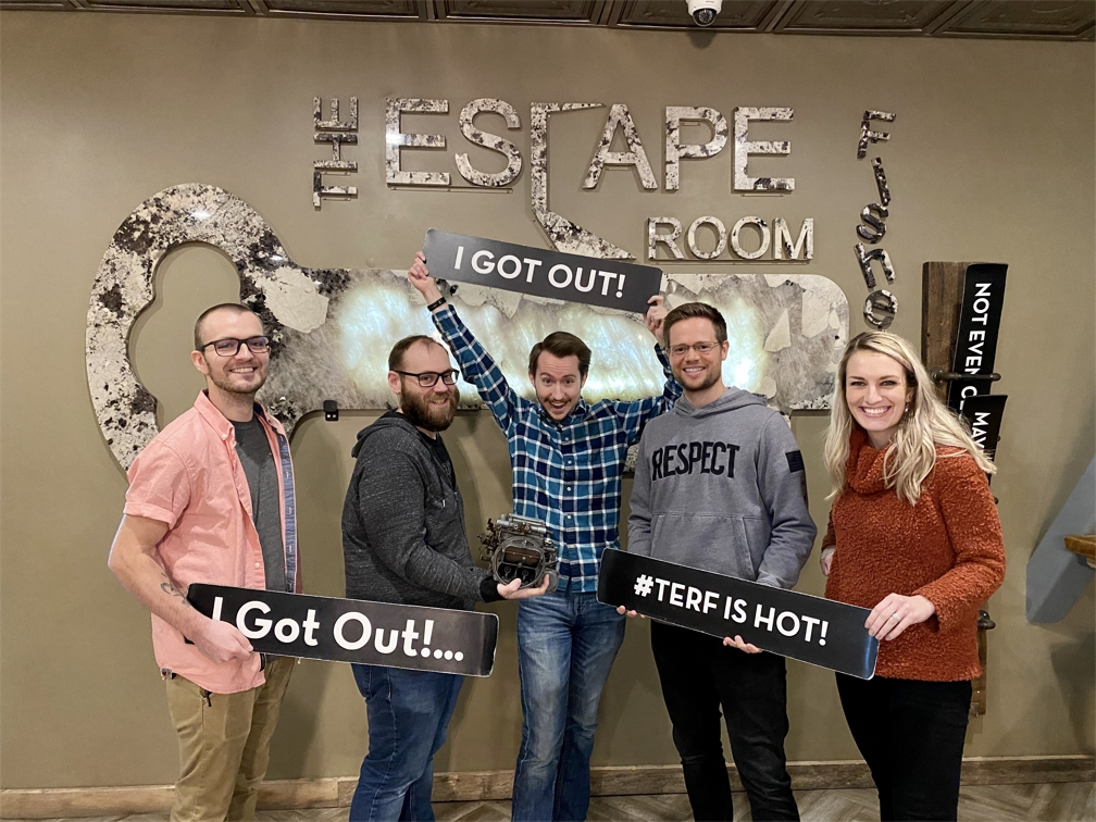 Marketing team outing at an escape room