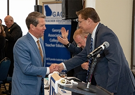 Prior to making remarks, Georgia Governor Brian Kemp shakes PAGE Executive Director Craig Harper's hand at the 2020 PAGE Day on the Hill, held annually during the legislative session.