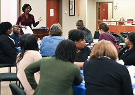 PAGE staff attorney Lauren Wilmer provides legal information to members.