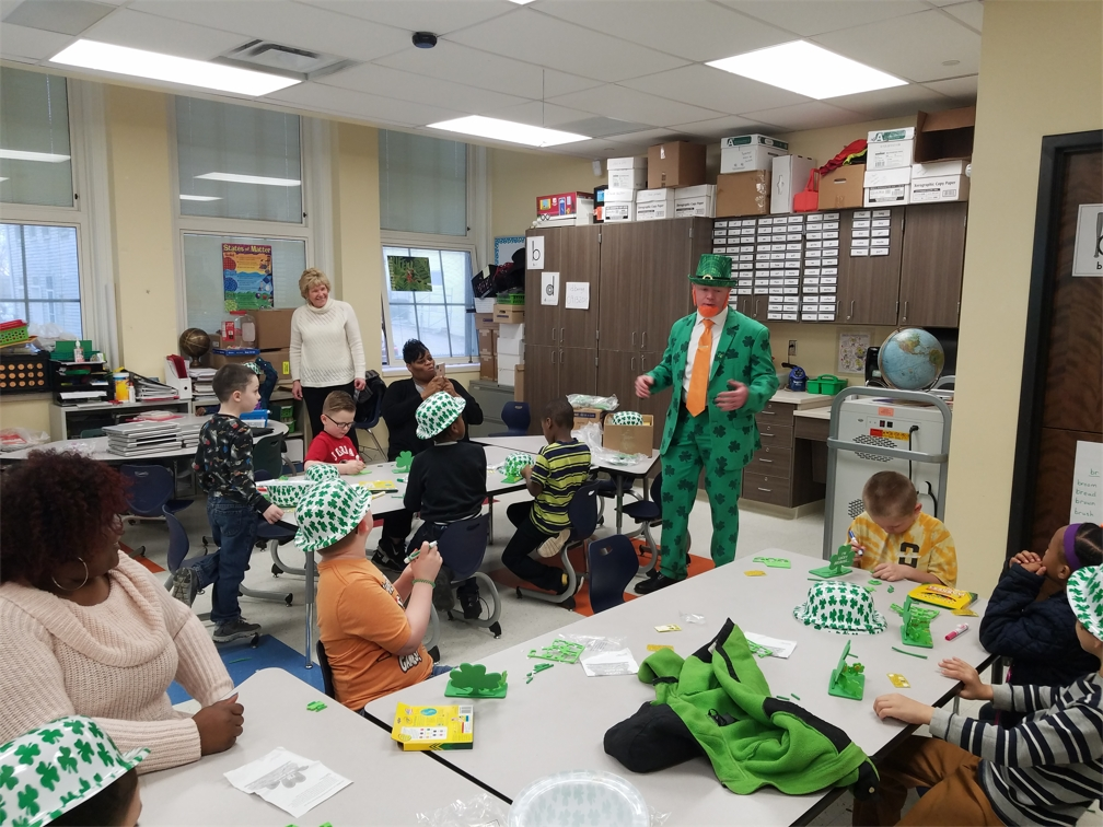 Prosource celebrates St. Patrick's Day during a 2019 Adopt A Class visit.
