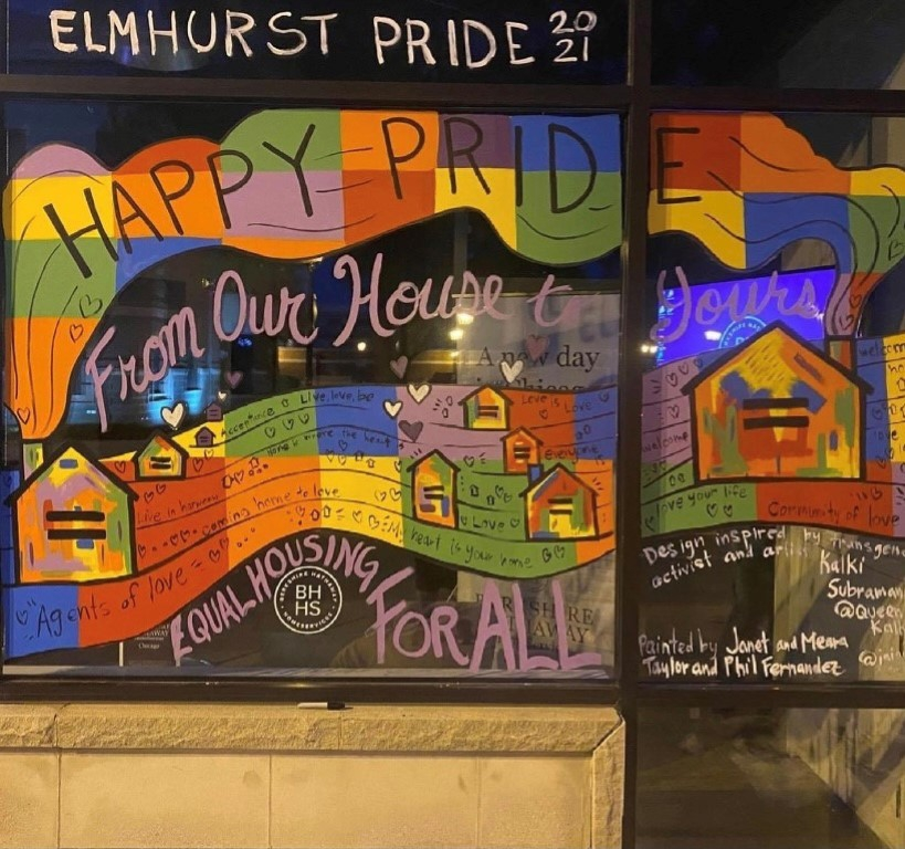 In June, the Elmhurst office painted their office windows to display Pride!