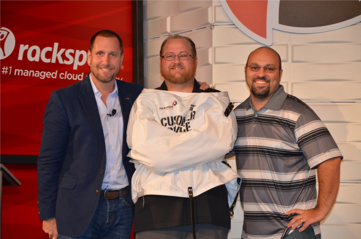 Racker Wendall Robinson is awarded the Fanatical Straight Jacket, Rackspace's most coveted award.