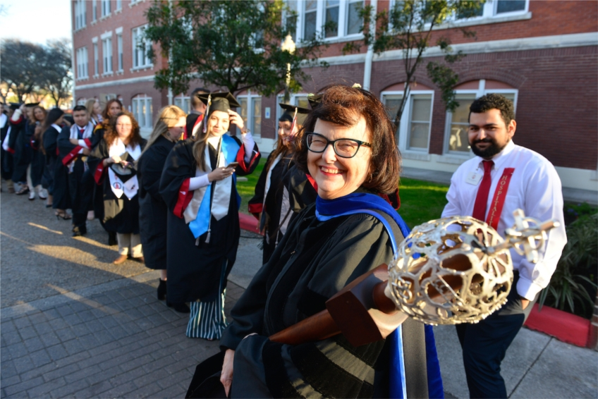 Dr. Sharon Herbers, 2018-2019 Moody Professor, during Baccalaureate Mass.