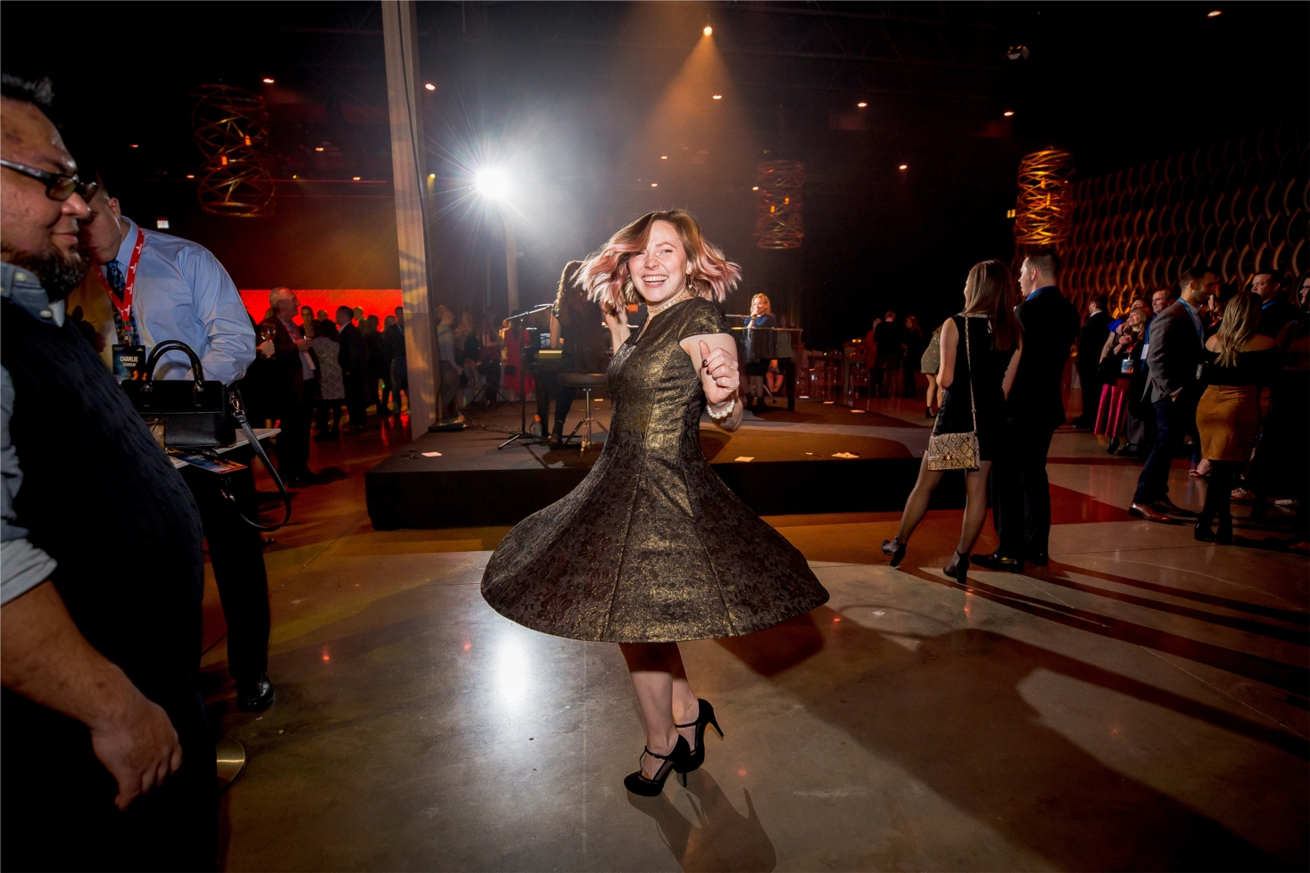 Lindsey Todt dances the night away at Employee Holiday Party 2019.