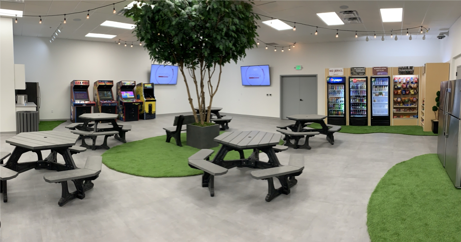 """""""The Park"""".  Stability Cannabis employee break room features a free arcade, nearly free food and drinks, and a park like atmosphere."""