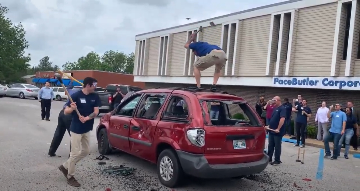 Destroying a van for a little stress relief!