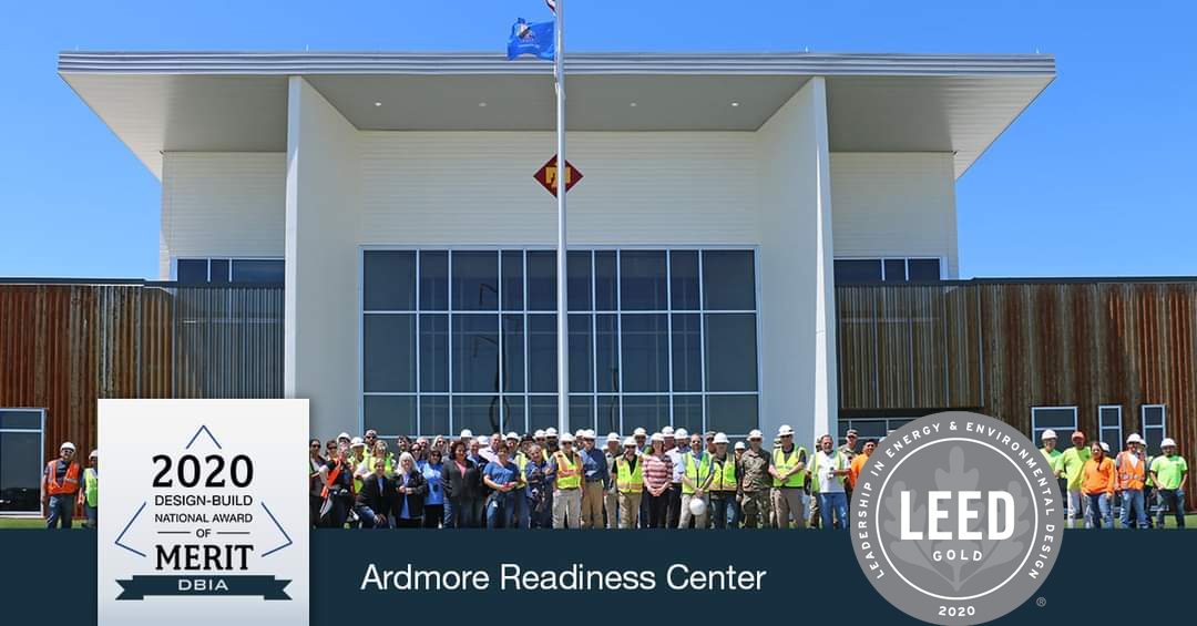 Oklahoma Military Department, Ardmore Readiness Center, Ardmore, OK. Recently recognized with the DBIA Merit Award and Gold LEED Certified