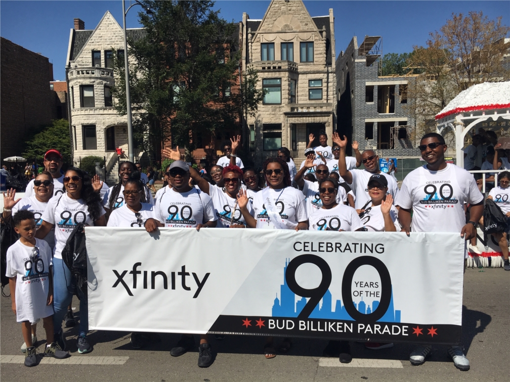 Comcast employees at the 2019 Bud Billiken parade