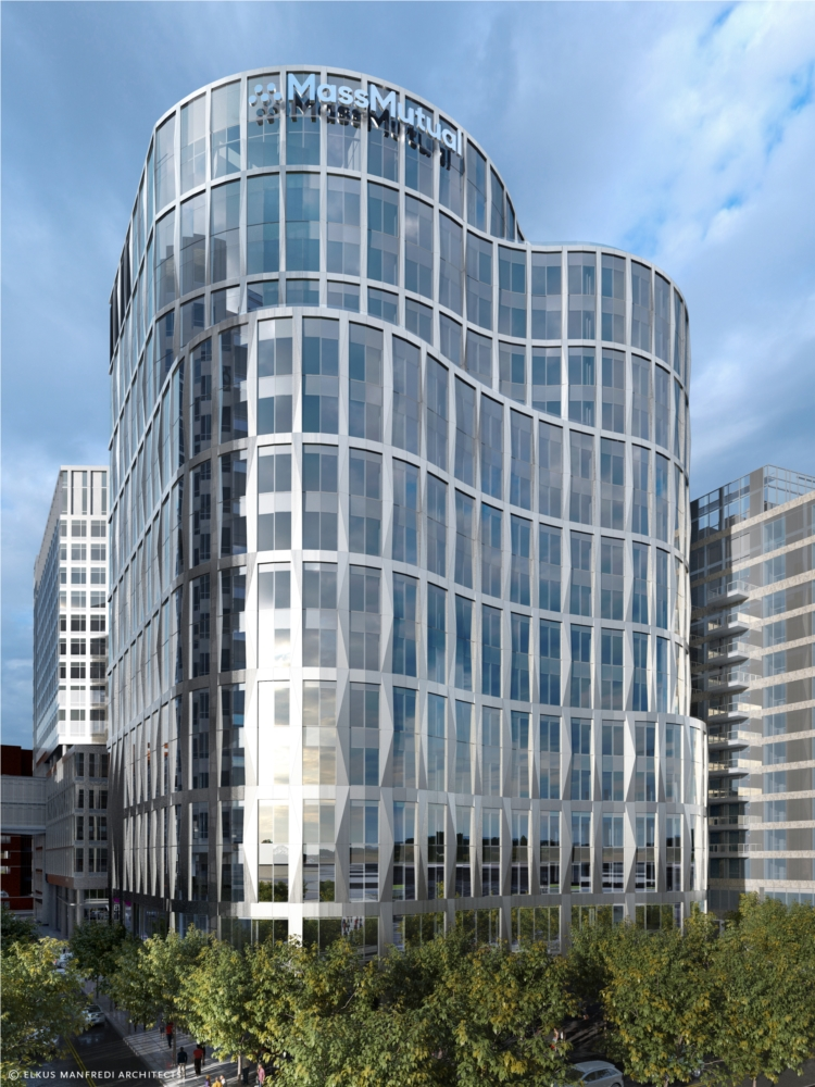 Rendering of MassMutual's future Boston building which is under construction now in the Seaport.