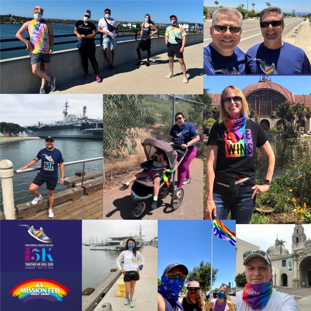 Mission Fed employees and their families supporting the 2020 Pride 5K