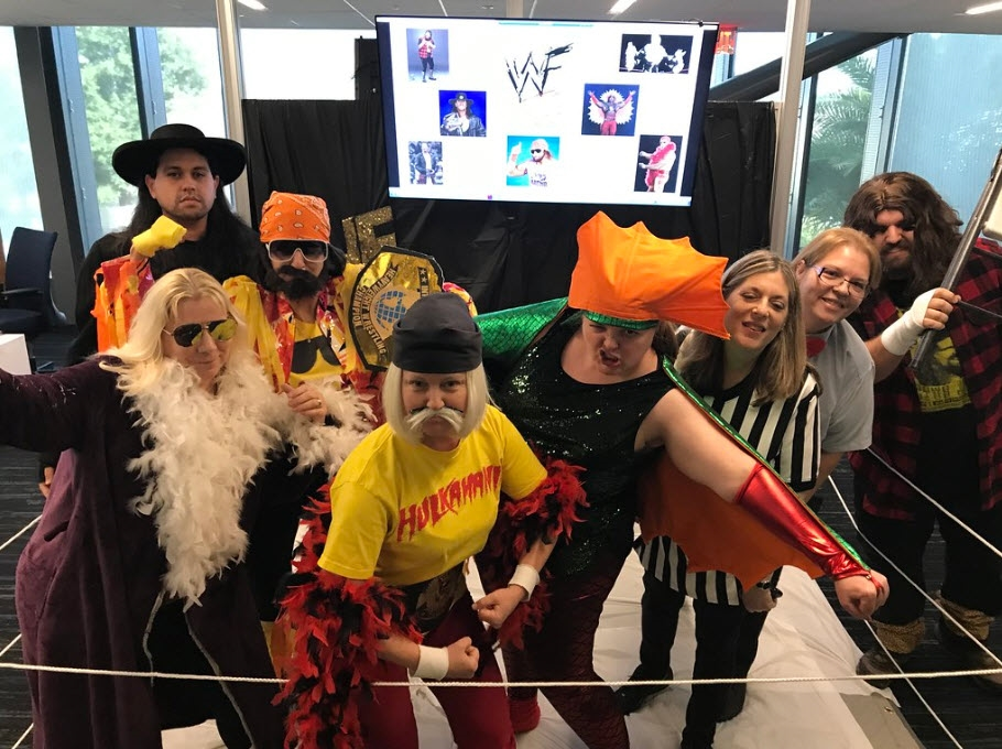 The Card Services department having some Halloween fun as Legends of Wrestling.