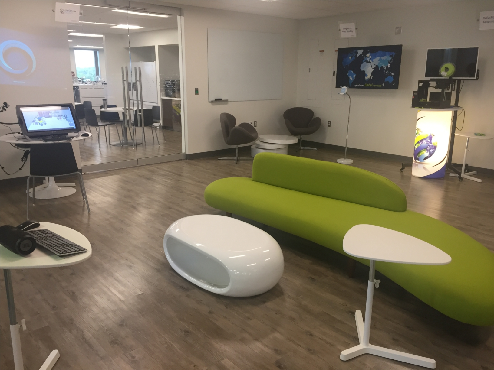 This is our innovation center. We use this space to create new solutions for our clients.