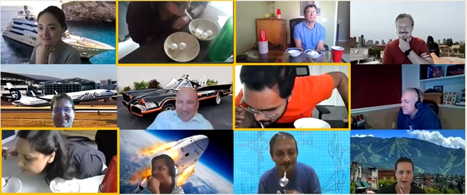 Another fun virtual event: Minute to Win It games. We've also done themed virtual background days - this day's theme was getaway vehicles (to get away from 2020).