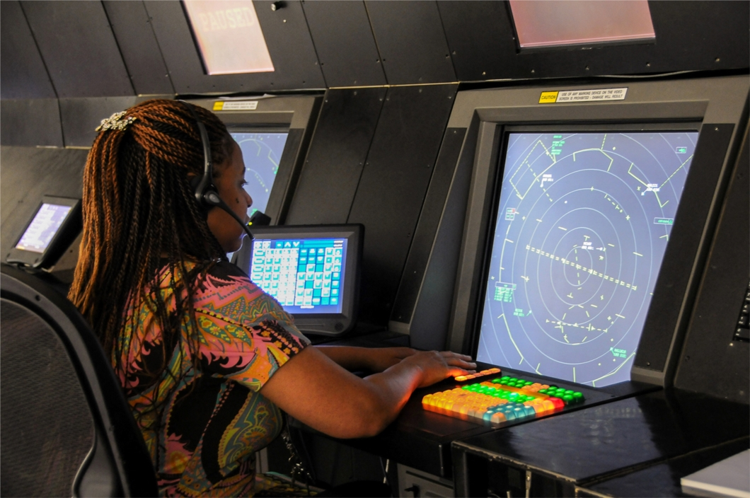 An Air Traffic Control student receiving instruction in a radar lab at the FAA Academy in Oklahoma City, OK.