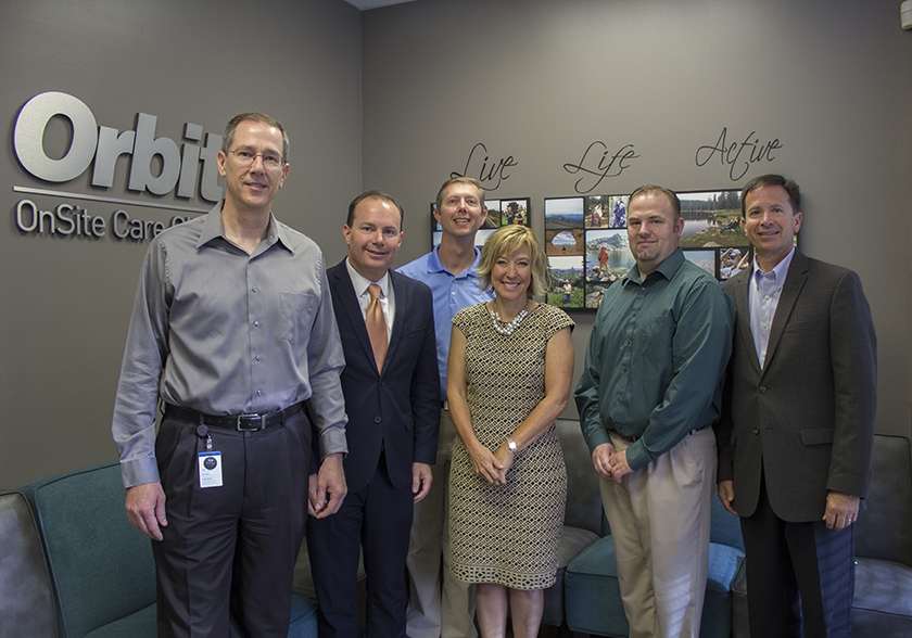 "Senator Mike Lee visiting the OnSite Care Clinic at Orbit. The Clinic is a valued element of Orbit's culture, a ""medical home"" for associates and their families."