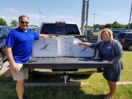 Donating unused ice chests to El Reno Blessing Baskets.
