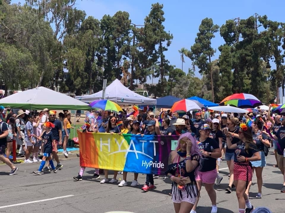 Celebrating diversity and inclusion along with Hyatt's LGBTQ community and allies at this summer's PRIDE march.
