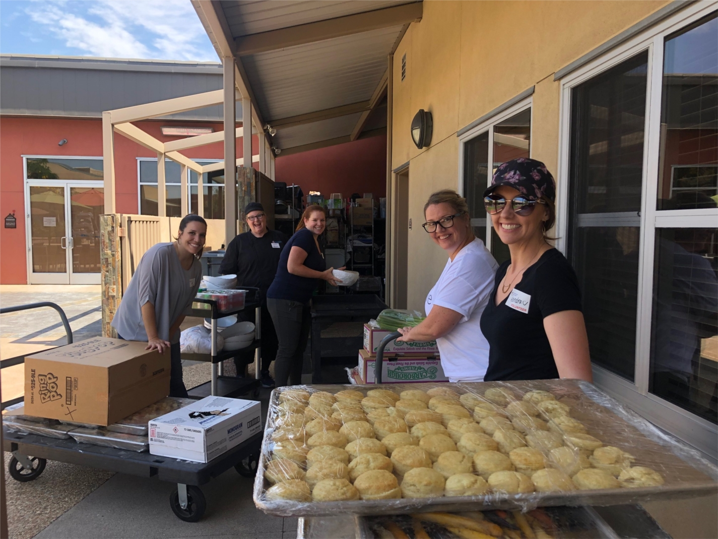 Our volunteers helping to provide a delicious meal for the families staying at the Ronald McDonald House.