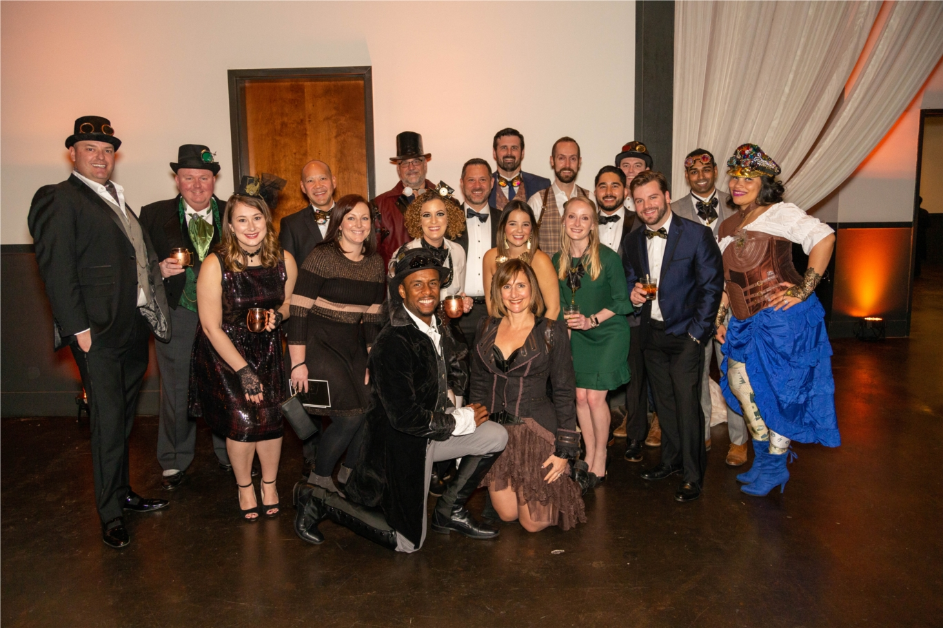 Chicago team at the 2019 Holiday Party. Theme: Steampunk!