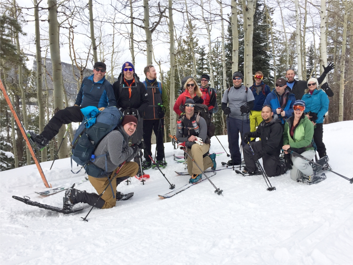 """The """"Hut Trip"""" is an annual snowy 4-6 mile trek to a winter hut, where winter activities and team bonding abound."""