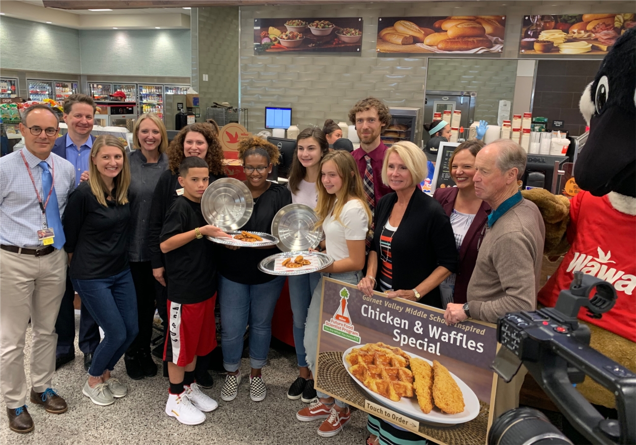 Garnet Valley Middle School students participated in Wawa's new Food Science program and won with their new Chicken and Waffles recipe. $1000 of proceeds went to Philabundance.