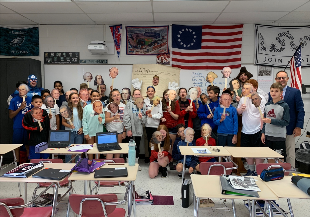 Garnet Valley Middle School celebrates the Constitution's Birthday! Teachers and students dressed up to show his/her pride for their nation. Teachers visited classes to reenact the history of the Constitution.