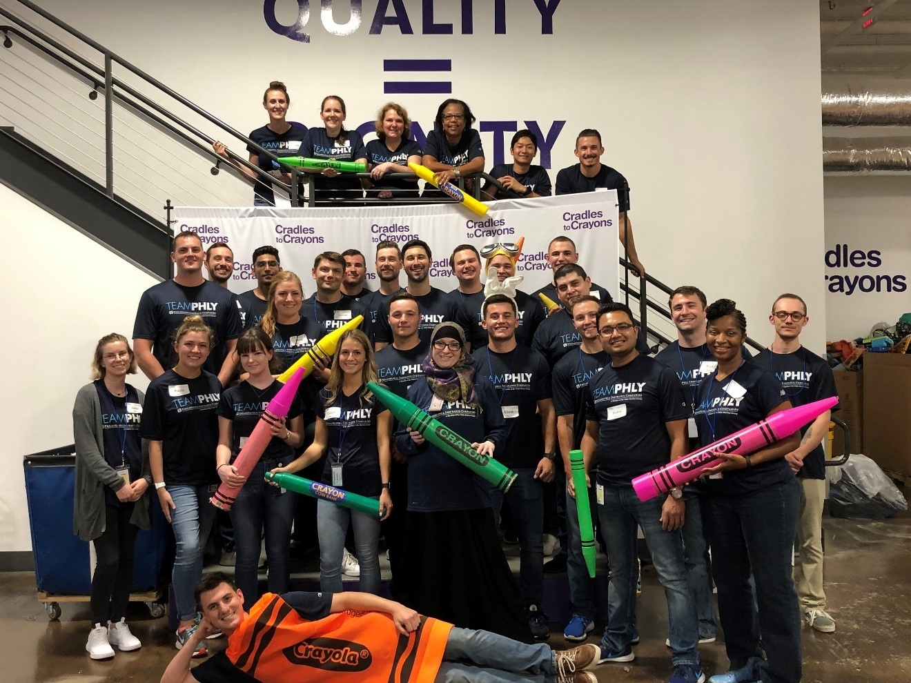The PHLY Foundations program, designed to acclimate employees to PHLY, volunteered with Cradles to Crayons a non-profit organization that provides resources such as school supplies and clothing to homeless and low-income children.