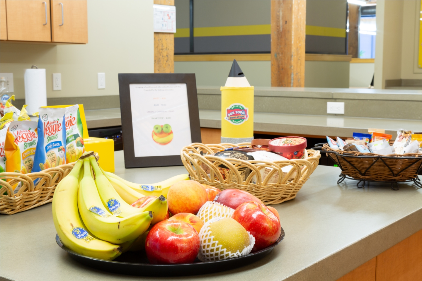 Fresh Fruit and snacks provided daily for employees to pick healthy alternatives