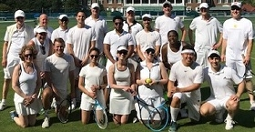 Employees spent the afternoon on the tennis courts.