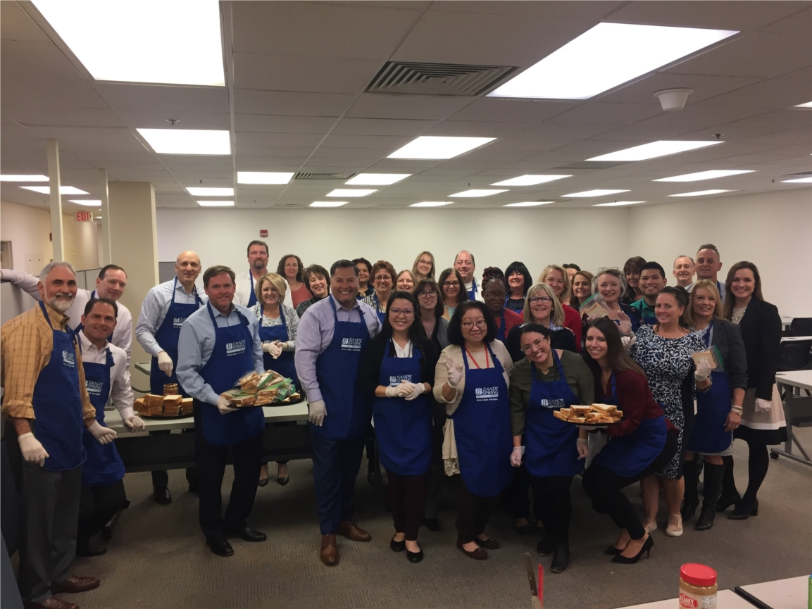 Employees prepared 1,000 PB&J sandwiches during the Season of Sharing.