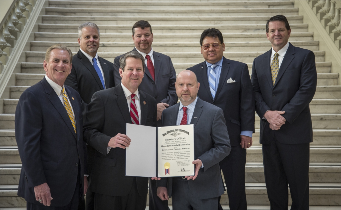 HOMESTAR's CEO Wes Hunt and his Top Leadership receiving the tremendous honor of being recognized as an Outstanding Georgia Business