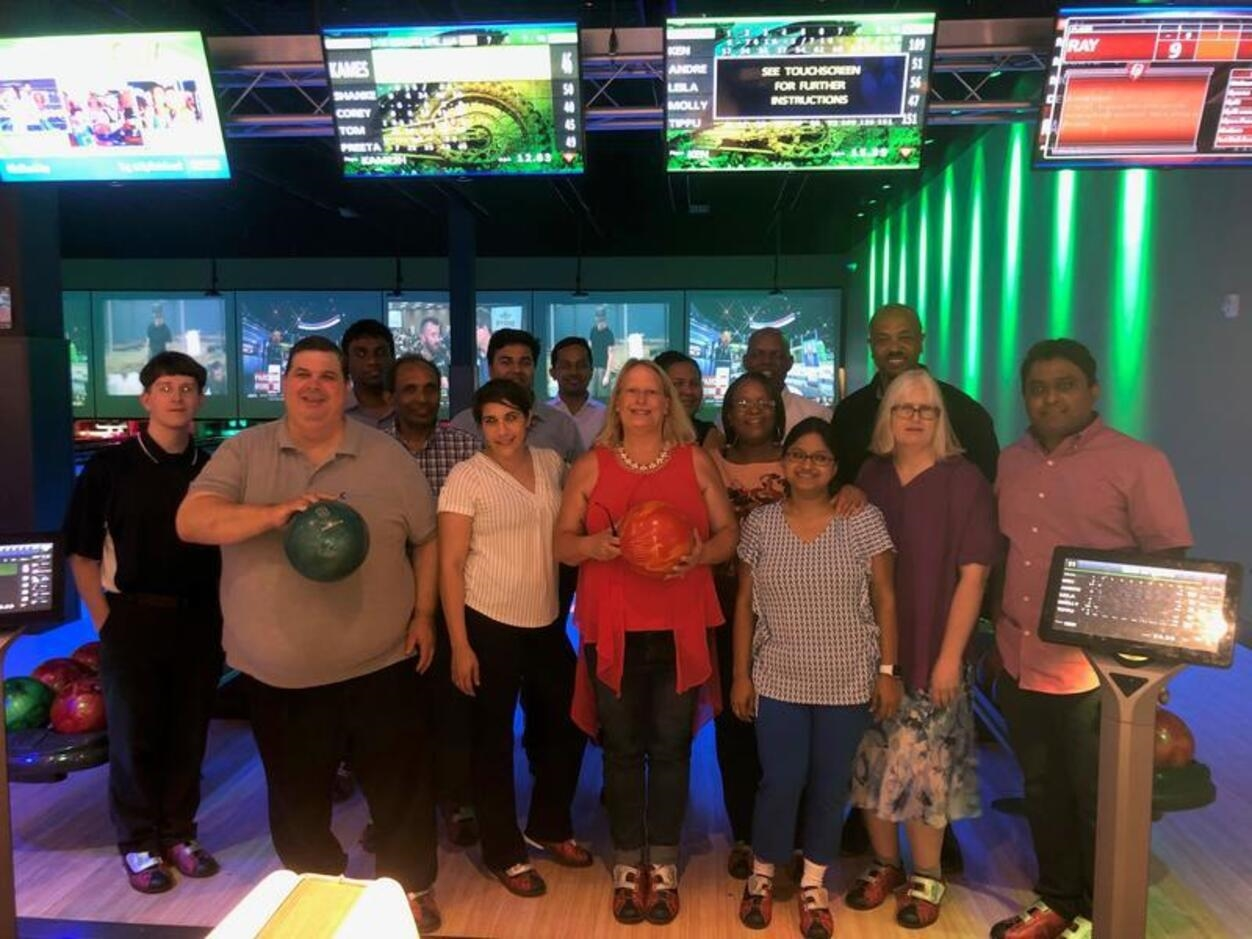 Team building exercise, having fun at the bowling alley!