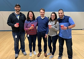 TJ, Jen, Jessica and Simon won this week's flip cup tournament hosted by Bill Priemer! Over 150 Hylanders participated in the pop-up atrium event. Don't worry, they played with water.