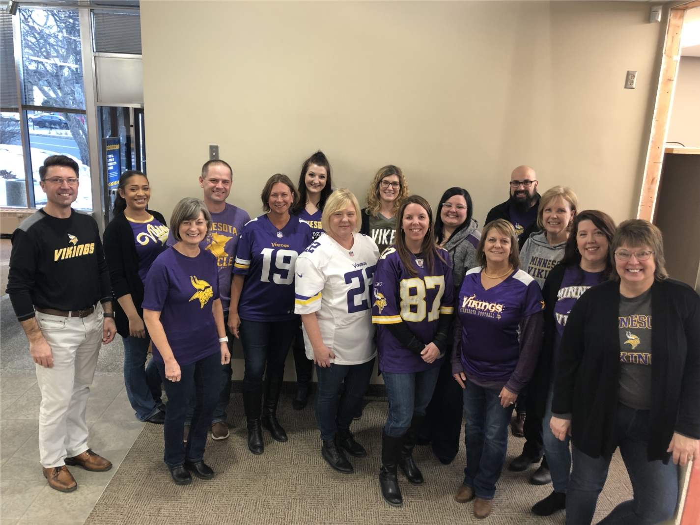 Northeast Bank employees cheered on the Minnesota Vikings with jeans and jerseys!