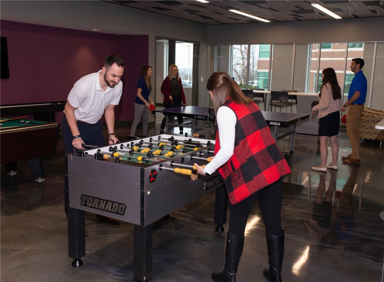 Employee fun in the game room