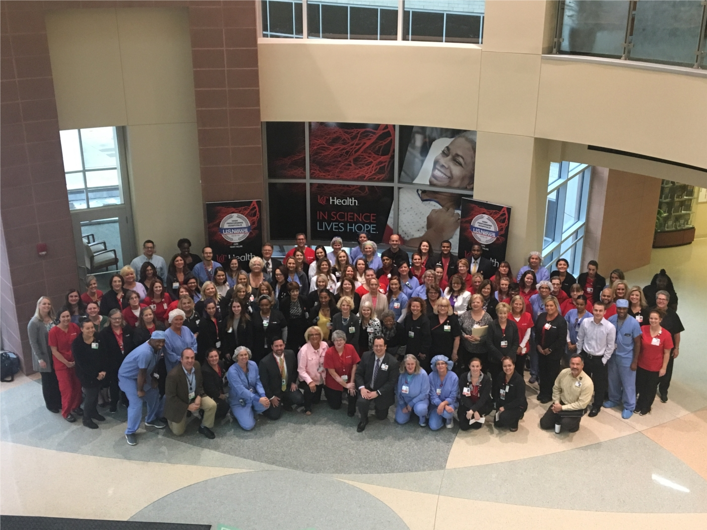 West Chester Hospital employees gathered to celebrate their receipt of Magnet status for nursing excellence.