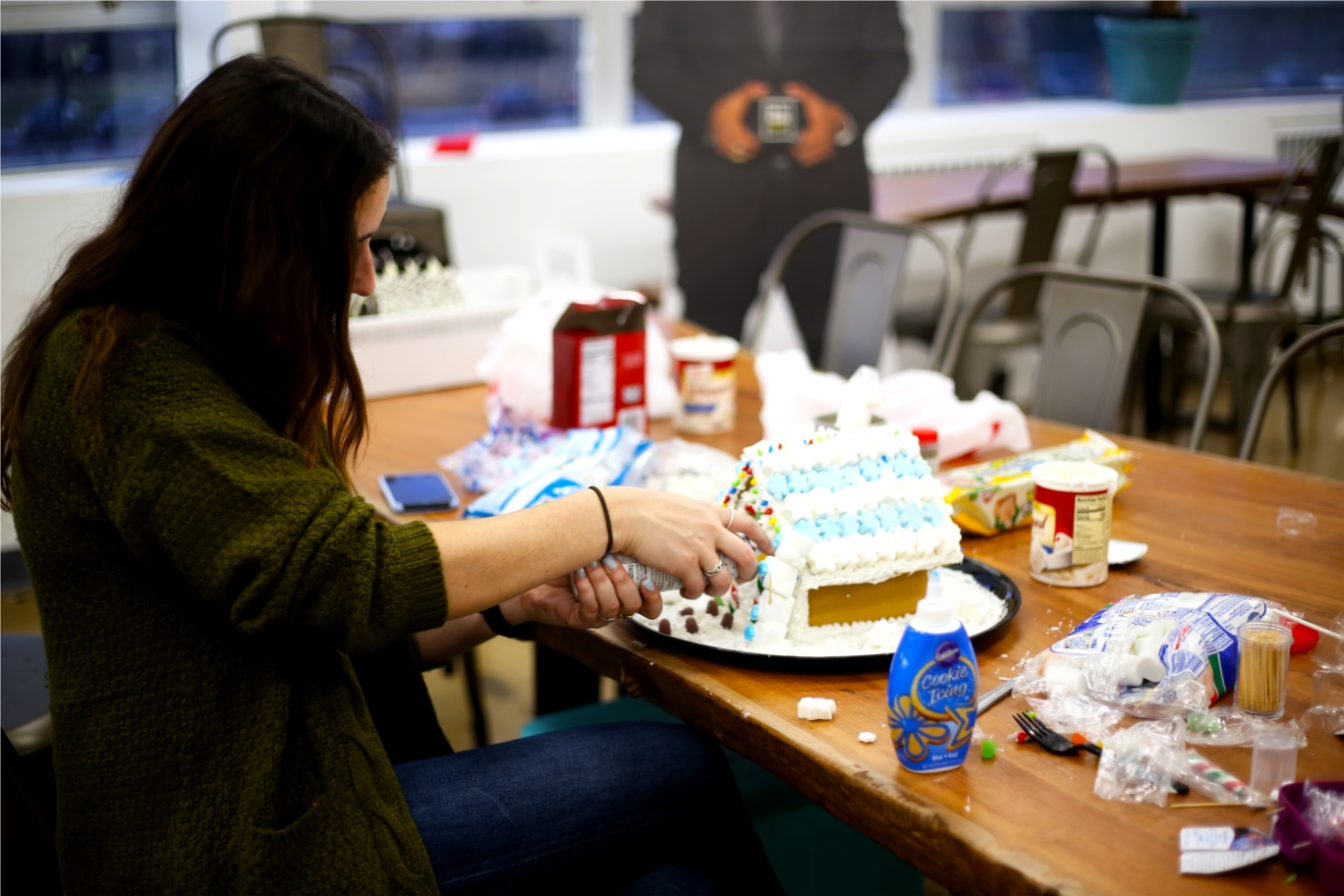 We love celebrating holidays in the office! Each holiday comes with pot luck phamily lunches and fun activities. This year, we made gingerbread houses for our local boys and girls club to vote on their favorite.