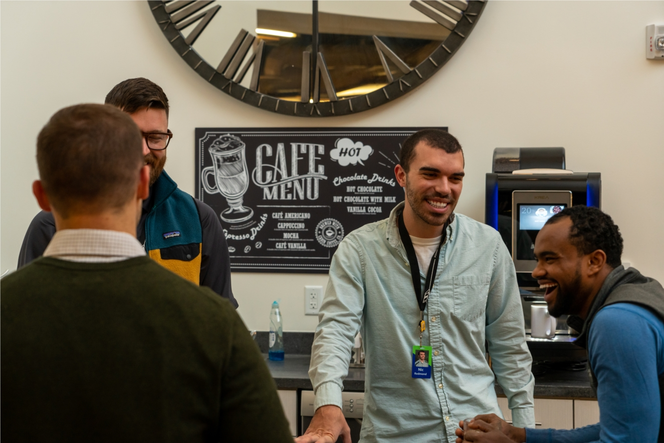 Employees enjoy connecting with one another at the espresso bar.