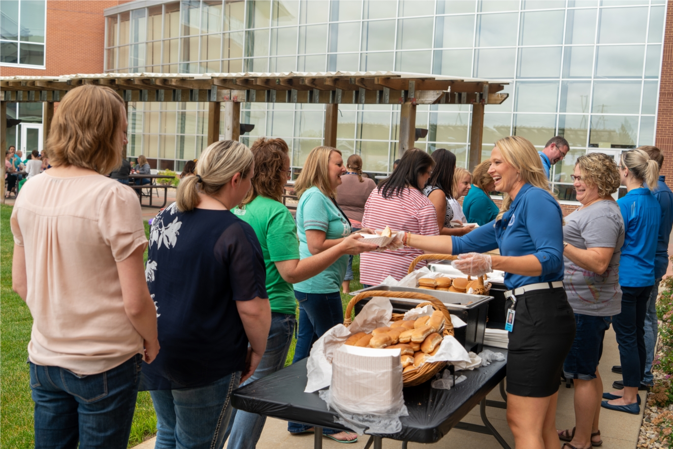 VGM's ESOP Communication's Committee serves lunch to fellow employee owners during a company cookout in 2019. As an employee owned company, VGM is known for an assortment of events and activities to bring employees together both during and after work hours.