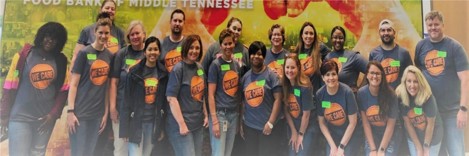 A group of myNEXUS Employees using their Volunteer Time Off to serve at the Second Harvest Food Bank in Nashville TN, 2019.