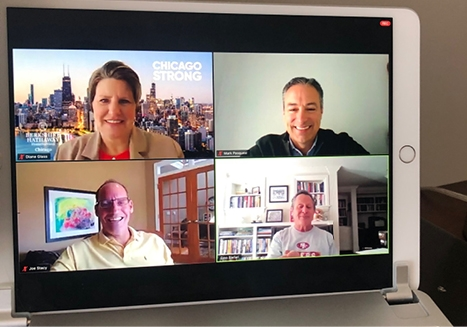 CEO Diane Glass, President Mark Pasquesi,  Senior Vice President and General Sales Manager Joe Stacy and HomeServices of America CEO Gino Blefari discuss strength, resiliency and mindset during a company-wide Town Hall Zoom meeting in May 2020.