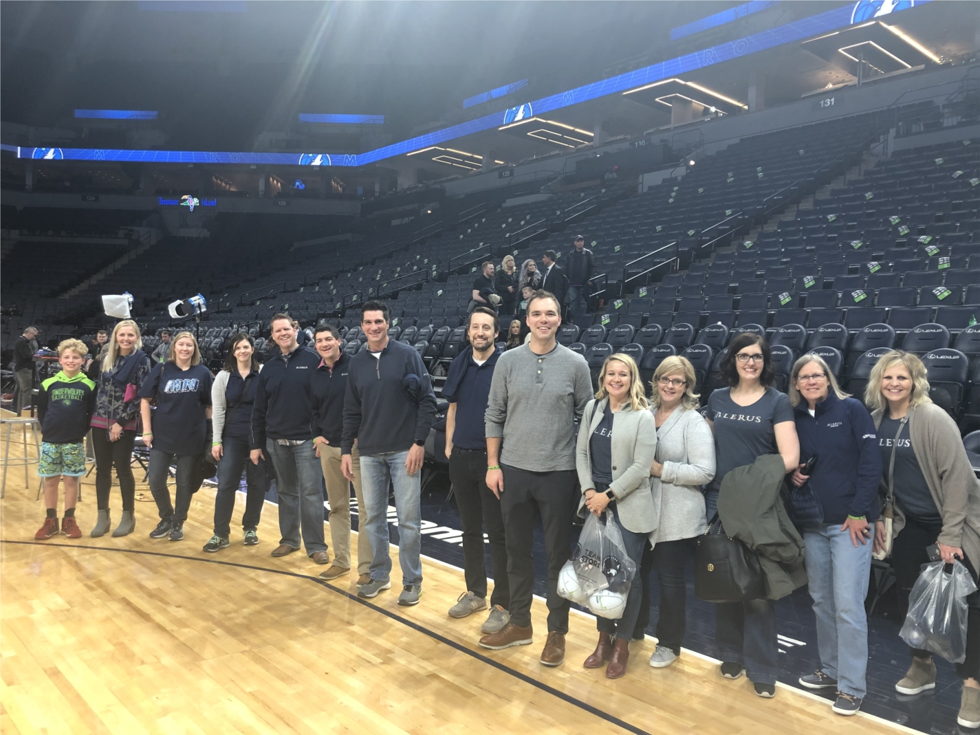 Alerus employees had fun throwing free throws after a Minnesota Timberwolves game.