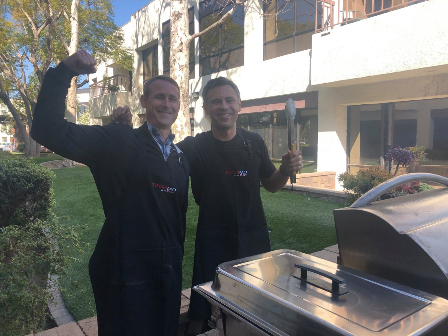 Our President, David Bryden, and our CEO, Sebastian Igreti, showing the team some love with a BBQ Lunch Cookout for Valentine's Day