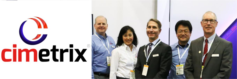 Cimetrix logo with employees at tradeshow.