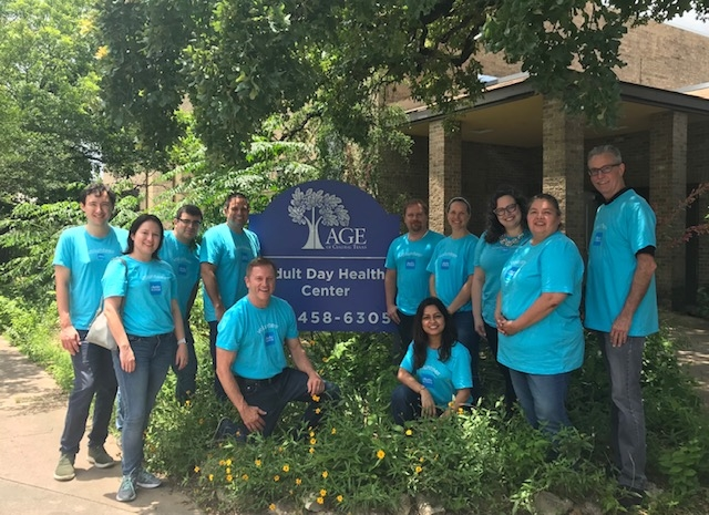 A group of Schwabbies support the Austin Community during Schwab Volunteer Week.
